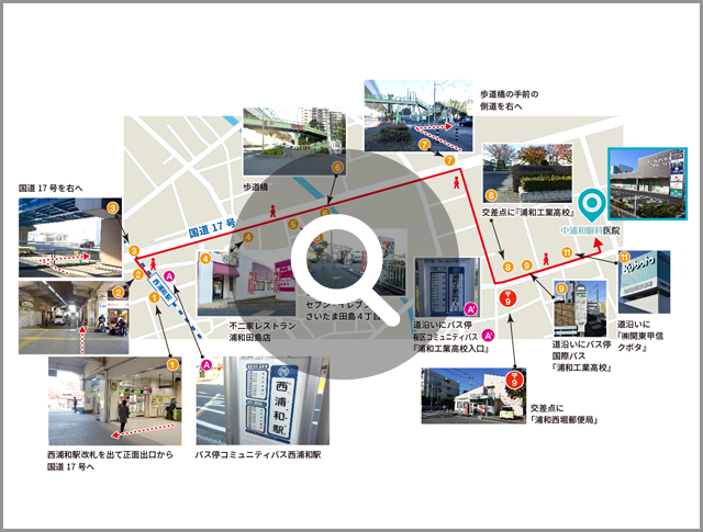 西浦和駅からの詳細アクセス